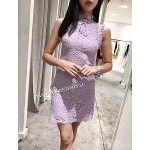 Sandro Purple Golda Lace Neck Bow Mini Dress Sz 1